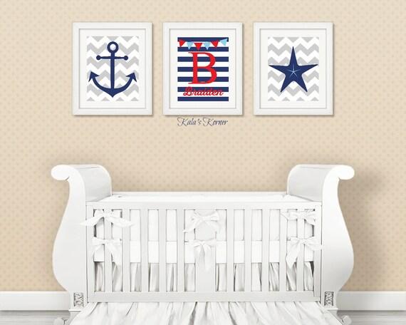 Nautical Nursery Decor Personalized Nursery Decor 3 Piece - cheap home decor for nautical nursery