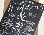 Wedding/ Party Invitations - Rustic Chalkboard Design x 40