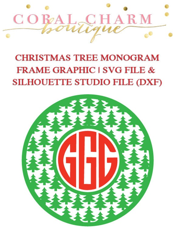 Items similar to Christmas Tree Monogram Frame File for ...
