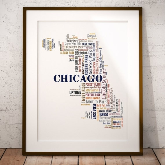 Chicago Typography Map Art Print Chicago Map Art By