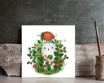 Watercolor  strawberry monster / Original  Art painting  red / green - nature berry painting - cute illustration by Norvile  /  home decor