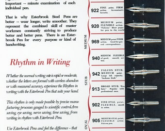 Replica of 1920s Esterbrook Radio Pen Card Sheet with 12 Vintage Pens