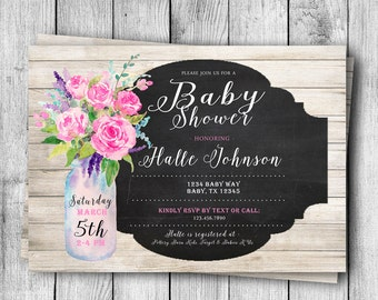 Rustic Floral Mason Jar Baby Shower Invitation - 5x7
