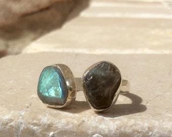 Two Stone Ring, Raw Labradorite Silver Ring, Dual Gemstone Ring, Double Stone Ring, Adjustable Silver Ring, Labradorite Open Ring