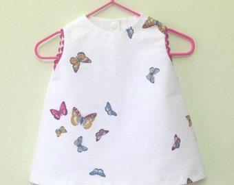 Baby girl dress , butterflies, pink, babby girl clothes,newborn Girl Dress-Flower Girl Dress