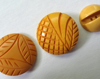Set of Three Vintage Yellow Bakelite Buttons