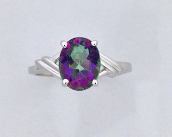 Natural Mystic Topaz Solitaire Ring 925 Sterling Silver