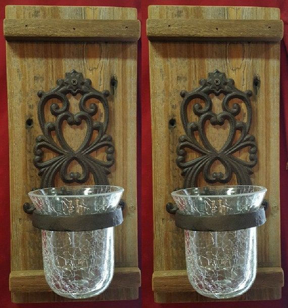 Wall Votive Sconces: Rustic Wall Sconce Set With Votive Candle Holders