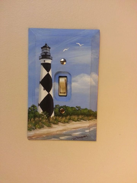 Lighthouse switch plate cape lookout lighthouse hand painted for Lighthouse switch plates