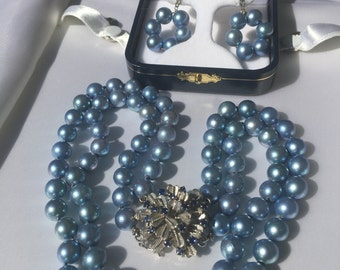 RESERVED FOR CAPGEM52 Vintage double strand blue black pearl & sapphire 14k white gold necklace and earrings