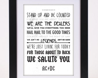 AC/DC 'For Those About To Rock (We Salute You)' Printed Lyrics Poster - available in A4 and A3 / Gift Ideas // Rock // Typography