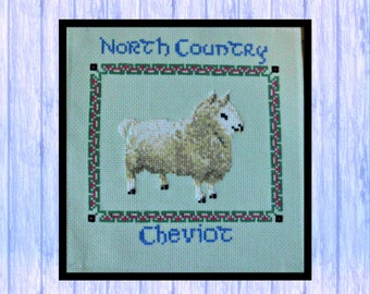 North Country Cheviot Sheep, Original Cross Stitch from Scotand, Instant PDF Download