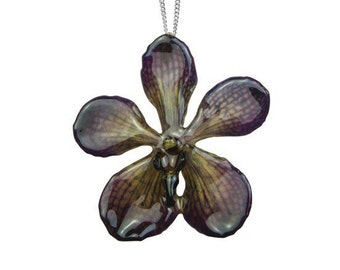 Real mokara orchid necklace in natural brown