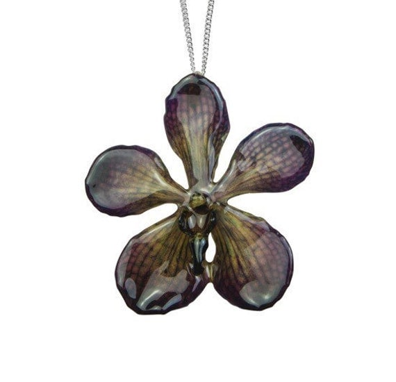 Real orchid necklace - real flower necklace - preserved flower - preserved orchid - orchid jewellery - flower jewellery - mokara orchid