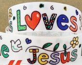 7/8'' Jesus Love Me Grosgrain Ribbon