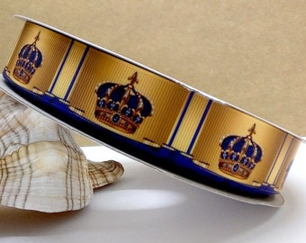 7/8'' -  22mm Gold and Blue Crown Grosgrain Ribbon