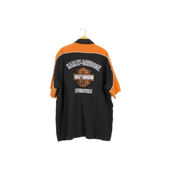 Harley davidson woven mechanic shirt pit crew patches for Mechanic shirts custom name patch