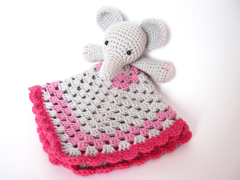 Amigurumi Elephant Blanket : READY TO SHIP Crochet Elephant Lovey Security Blanket Baby