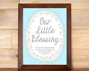Nursery Scripture, Bible Verse for Baby, Gender Neutral Print, Blessing Quote, Children's Room Decor, Adoption Gift