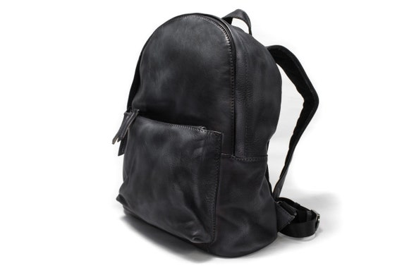 "Backpack Rucksack Vintage Look genuine Italian Leather to carry iPad Macbook 15"" Documents color to choose in photo DARK GREY"