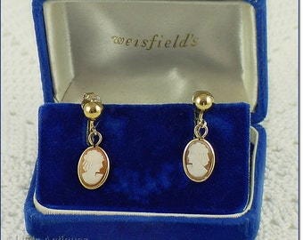 Vintage Carved Shell Cameo Clip Back Vintage Earrings in Original Box (Inventory #J477)