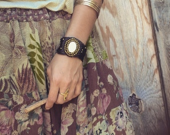 Bohemian bracelet with Gemstone tribal craft ,brass beads, gipsy bracelet handmade jewelry
