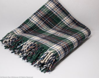Plaid wool blanket with fringe, tartan throw blanket, stadium throw, 50 x 52 inches, great quality and condition, at Fresh Breeze Vintage