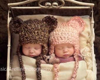 Handmade Baby Bear Earflap Hat, Newborn Infant Crochet Photo Prop, Perfect Baby Shower Gift, Teddy Bear Outfit, Animal Hat, Kids Winter Hat