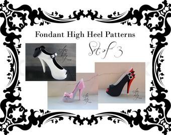 Fondant High Heel Pattern Set of 3, Fondant Shoe Patterns, Sugar Shoe Patterns, Cake Decorating