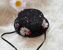 Mary Poppins Inspired Hat Headband, Mary poppins costume, Mary poppins hair clip, mini hat, hat headband, kutiebowtuties