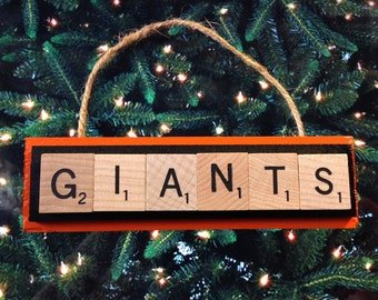 San Francisco Giants Scrabble Tiles Ornament Handmade Holiday Christmas Wood