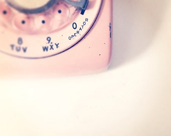 50s Pink Phone Photo - Retro Pink Telephone Photograph - Girly Girl Dial Phone Instant Download