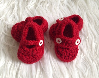 Preemie Valentine Shoes, Red Baby Booties, Crochet Red Shoes, Handmade Crochet, Baby Girl Shoes, Baby boy shoes