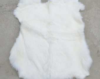 Rabbit Fur Pelt White Genuine Leather X-Large TA-31641 (Sec. 1,Shelf 5,A)