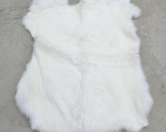 Rabbit Fur Pelt White Genuine Leather Large TA-33575 (Sec. 1,Shelf 5,C)