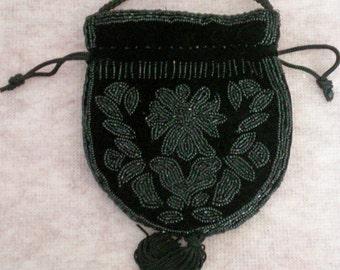 Black Velvet Beaded Draw String Bag / Purse - 4395