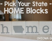 """Pick Your State - """"Home"""" Blocks - Wood 5th Anniversary, State Love"""