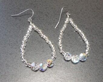 Hoop earrings Swarovski aurora borealis round, and silver lined seed beads