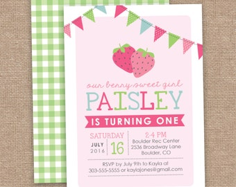 Girl First Birthday Strawberry Invitation, Berry Sweet Girl, Summer, CUSTOM, DIY Printable