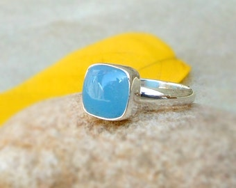 925 Solid Silver Aqua Blue Chalcedony Ring Blue Gemstone Cushion Ring Chalcedony Jewelry Sterling silver Ring Cabochon Blue Ring Sz 5 6 7 8
