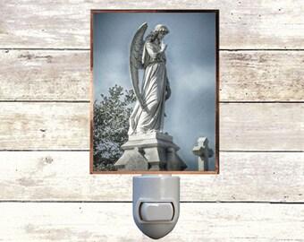 """Night Light, """"Speak No Evil"""",  Cemetery New Orleans, Handmade,  Copper Foiled"""