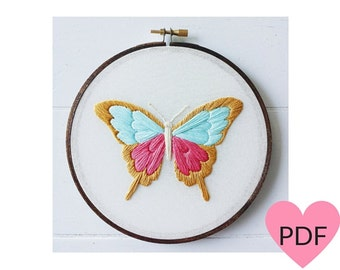 Butterfly Embroidery Pattern, PDF Pattern, Nature Inspired Stitchery, Hand Embroidery Pattern, Instant Download PDF, Printable Pattern