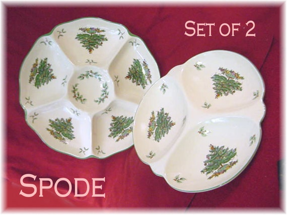 Spode Christmas Tree 2 Divided Serving Relish Platters