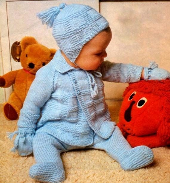 Vintage Knitting Pattern Baby Matinee Jacket Leggings Mitts