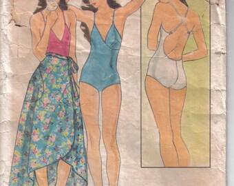 Vintage Butterick  Beach Wear Swimsuit Sarong   Pattern 5410 circa 1980's  size 10 Bust 32