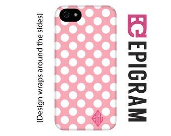 Pink monogram polka dot iPhone 6s case, 3D case, monogram iPhone SE case, iPhone 5c, iPhone 6s plus case, iPhone 5s case, 3D iPhone case