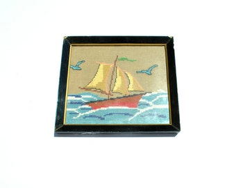 Boat Embroidery Canvas Wall Hanging, Ship Cross stitch Wall Decor, Nautical Decor, Needlepoint Canvas Tapestry, Vintage Greek Embroidery
