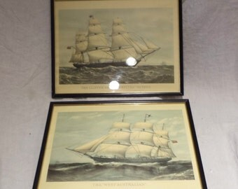 Ship Prints, Vintage Pair, Framed Sailing Ship Prints, Nautical or Marine Prints