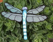 "Dragonfly Table Art, Iridescent Blue with Purple & Black, 10"" wide"