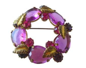 Austrian Crystal Amethyst Circle Pin - Vintage Jewelry - Costume Jewelry - Austrian Crystal Brooch